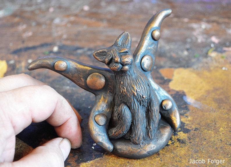 OoAK Cat Fairy Cat Fairy Figurine Cat Figurine Cat image 0