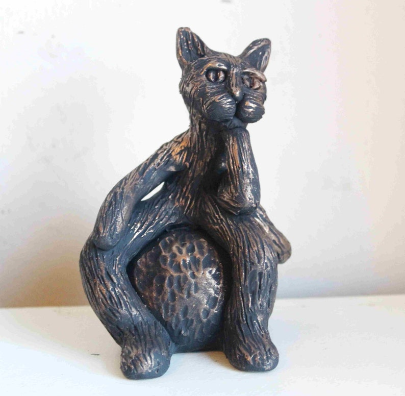 OoAK Thinking Cat Sculpture Cat Figurine Cat Gifts Gifts image 0