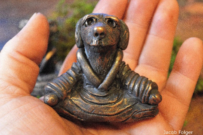 OoAK Meditating Dog Figurine  Zen Dog Sculpture  Yogi Dog  image 0