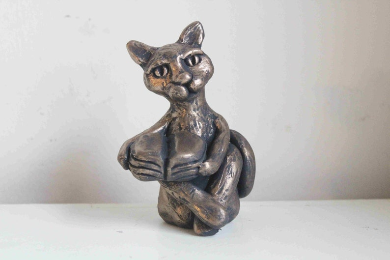 OoAk Cat Reading A Book  Book Lovers Gift  Cat Figurine  image 0