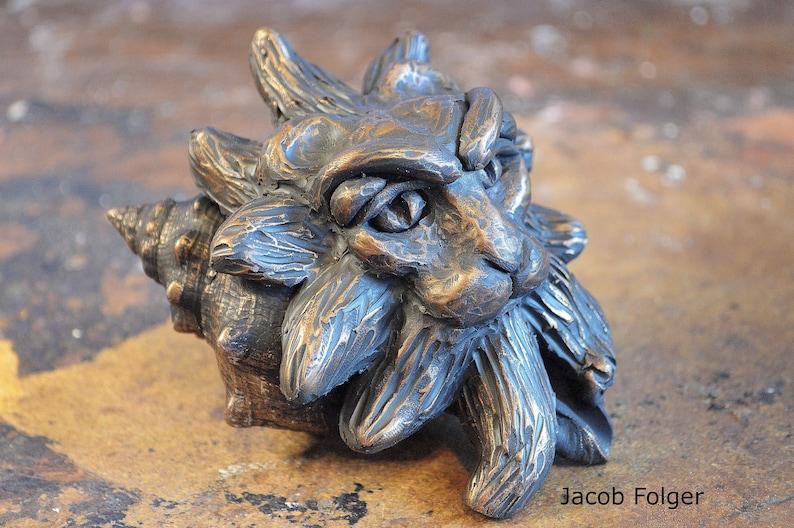 OoAK Lion Emerging From A Seashell Sculpture  Seashell Art  image 0