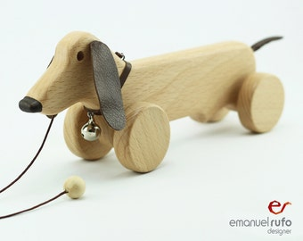 Personalized Wooden Toy, Wooden Dog Toy, Eco Friendly Pull Toy