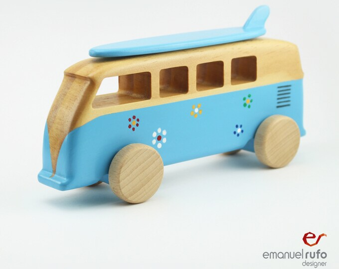 Featured listing image: Blue Personalized Wooden Toy, Wooden Surf Van Toy, Toy for Boys, Girls, Kids, Handmade, Gift For a Boy, CL 26 Wooden Camper Van