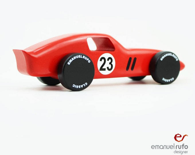Featured listing image: Red Wooden Toy Car, Wooden Car for kids, boys, Classic Race Car, CL 01 Inspired by the Ferrari 250GTO