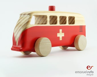 Wooden Ambulance Toy, Red Personalized Wooden Toy, Toy for Boys, Girls, Kids, Handmade, Gift For a Boy, CL 27 Ambulance 911