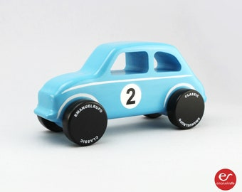 Blue Wooden Toy Car, Wooden Toy Design, Classic Toy Car for Toddlers, CL 14, Inspired by one of the most charismatic Italian small cars.
