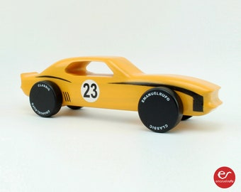 Personalized Yellow Wooden Toy Car, Wooden Car for kids, boys, American Muscle Car, CL 07, Inspired by a American Muscle Car Of The '60s.