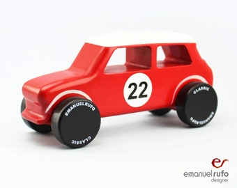 Red Wooden Toy Car, Eco-friendly Wooden Toy, Classic Toy Car for Kids, CL 15, Inspired by the Classic Austin Mini