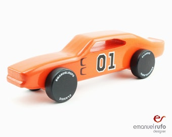 Orange Wooden Toy, Wooden Toy Car, Boy Gift, Classic American Muscle Car CL 08, Inspired by the Dodge Charger