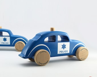 Blue Wooden Toy Police Car, Wooden Toy Design, Classic Car for Toddlers, CL 12, Inspired by the 60s Police Car