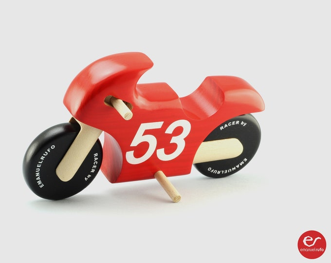 Featured listing image: Racer Wooden Toy Motorcycle, Wooden Toy for kids, Motorcycle Toy for Boys, Girls