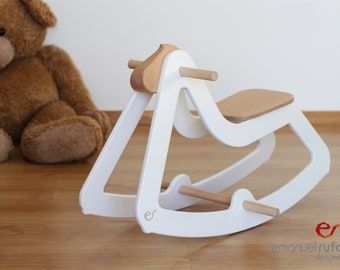 Design Rocking Horse, Modern Wooden Toy for Kids, Boys, Girls, Eco Friendly Toy, C03 White