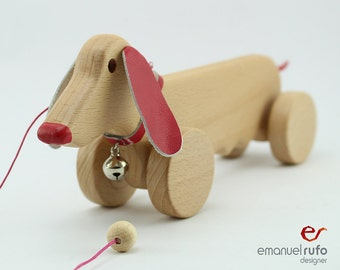 Personalized Dog Wooden Pull Toy, Pink Wooden Female Dog, Eco Friendly Pull Toy