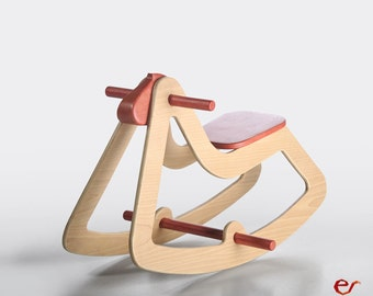 Design Rocking Horse, Anniversary Gift, Modern Wooden Toy for Kids, Boys, Girls, Eco Friendly Toy, C03