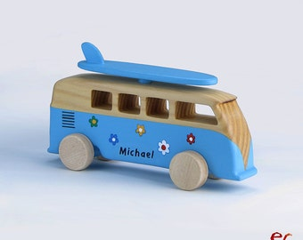 Wooden Bus Toy, Personalized Wooden Car - Wooden Toy for Boys, Kids, Men, Handmade, Modern Wooden Toy, Gift For a Boy, Bus VW Kombi Surf