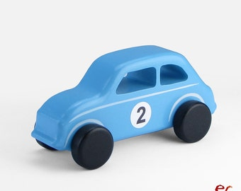 Blue Wooden Toy Car, Wooden Toy Design, Classic Toy Car for Toddlers, CL 14, Inspired by the Classic Fiat 500