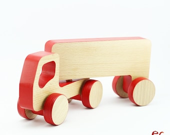 Truck Wooden Toy, Red Wooden Truck with Trailer Toy, Toddler Birthday Gift Boy, Push toy for Toddlers
