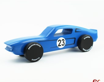 Blue Wood Toy Car, Wooden Car for kids, boys, American Muscle Car, CL 06, Inspired by the Ford Mustang