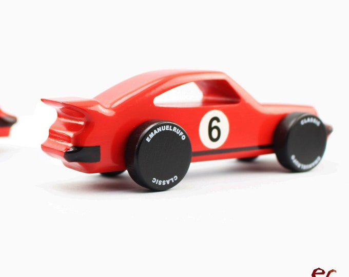 Featured listing image: Red Wooden Toy Car, Wooden Toy Design, Classic Race Car for Toddlers, CL 03, Inspired by the Porsche 911 Turbo