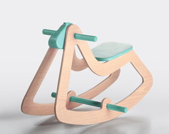 Turquoise Blue Rocking Horse, Anniversary Gift, Modern Wooden Toy for Kids, Boys, Girls, Eco Friendly Toy, C03