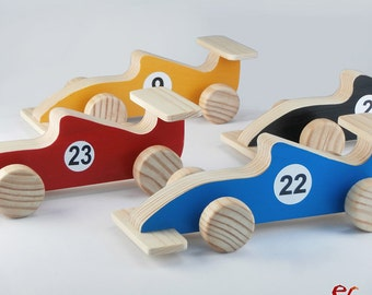Birthday Gift, Wood Toy Car, Handmade Gift, Gift for Kids, Children, Formula 1 Race Car, Colors