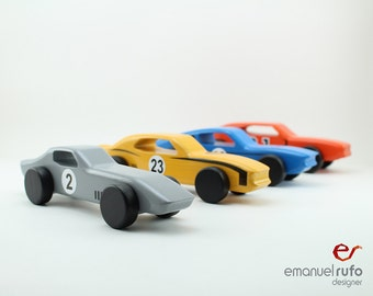 Set of 4 Wooden Toy Cars, Wooden Toys for Boys, American Muscle Car, CL06, CL 07, CL 08, CL 09