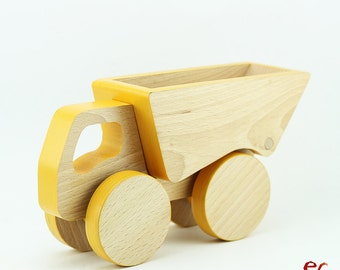 Wooden Push Toy Car, Toddler Birthday Gift Boy, Yellow Truck Toy, Push Toy for Toddlers