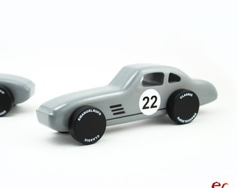 Wooden Toy Car, Quality Wooden Car for kids, boys, Classic Race Car, CL 05, Inspired by the Classic Silver Grey German Race Car