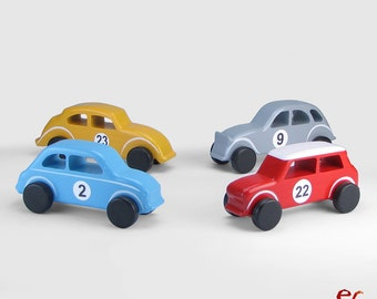 Set of 4 Wooden Toy Cars, EmanuelRufo Classic Cars, Wooden Toys for Boys, Handmade Gift, Inspired by the Small European Classic Cars