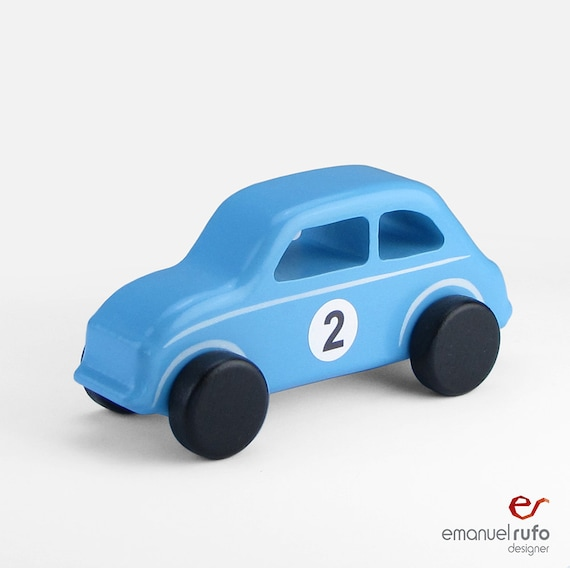 Wooden Toy Car Blue Wooden Car Childrens Gift Classic Car Etsy