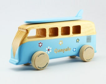 Blue personalized wooden toy van, engraved name, Handmade gift