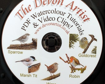 Learn to Paint Birds in Watercolour, Step by Step PDF Watercolor Art Tutorials, Disc 1