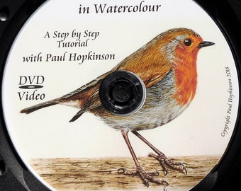 Learn to Paint a Realistic Robin in Watercolour, Illustration Style Art Watercolor Bird Painting Lesson
