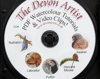 5 PDF Watercolor Wildlife Painting Tutorials, Illustration Watercolour Art Lessons, Disc 4