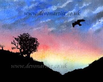 Original Watercolour Painting, Sunset Silhouette , Bird of Prey in Flight