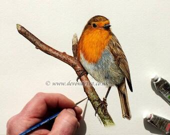 Robin Painting Original, Watercolour Bird, Winter Robin, Bird Artwork, Watercolor Birds, Autumn Robin, Robin Art