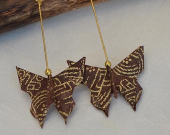 Oriental pendientes de la joyería origami mariposa pendientes papel hecho a mano joyería papel japonés chocolate marrón oro joyería natural orgánicos