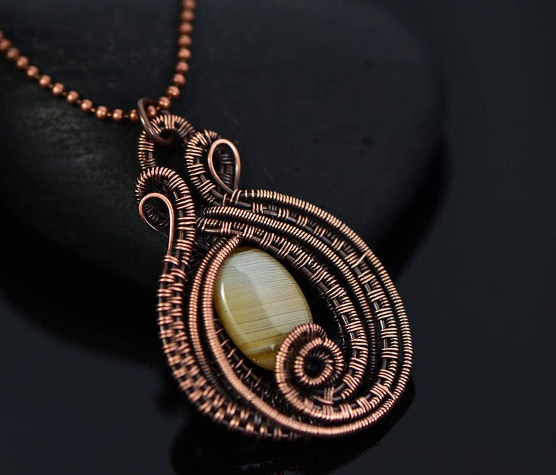 Copper Pendant Copper necklace Agate Necklace Agate Pendant Wire Wrapped Pendant Copper jewelry Metalwork pendant Boho necklace Gift for her
