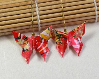 Mariposa rosa pendientes origami hecho a mano mariposa joyas papel japonés joyería oro melocotón rosado caliente Oriental regalo para sus aretes de papel