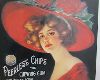 Vintage Metal Advertising Sign - Peerless Chewing Gum - Reproduction by Desperate Sign Co