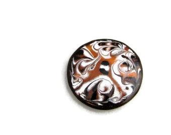Large Mid Century Modern Enameled Copper Pendant or Brooch