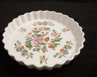Fluted Pie, Tart or Quiche Dish - Le Jardin Pattern