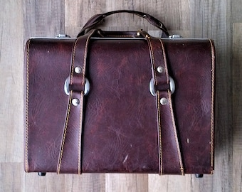 Vintage Faux Brown Leather Camera Bag Carrying Case - Made in Japan