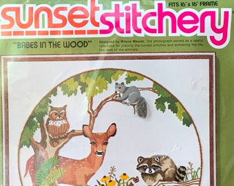 Sunset Stitchery Babes in the Wood Embroidery Crewel Needlepoint Needlework Craft Kit - New Old Stock Unused - Raccoon Owl Squirrel Animal