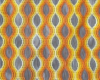 Vintage Orange Yellow White Ombre Tear Drop Semi Sheer Rod Pocket Curtain Panel - 44 X 48
