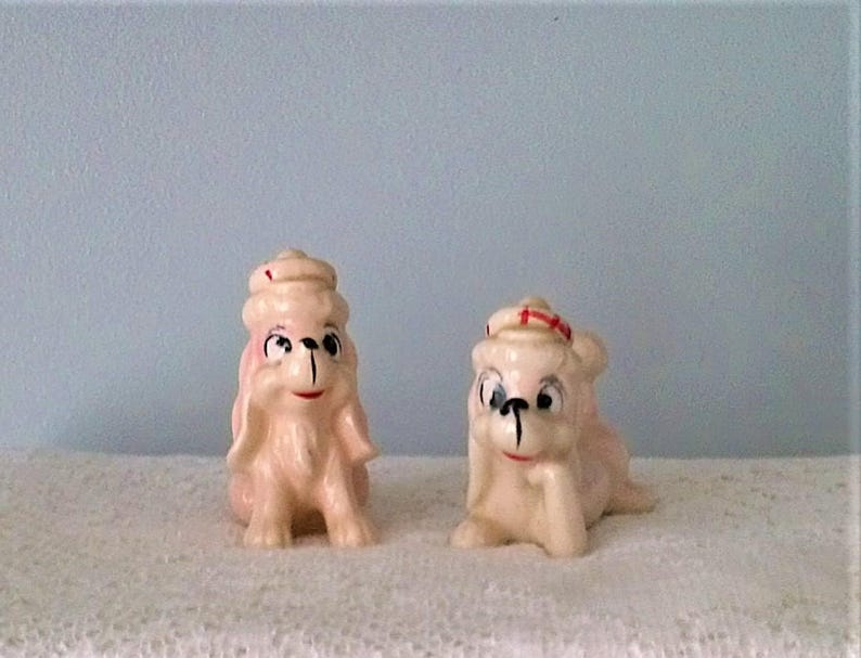 Pair of Vintage Light Pink Poodle with Red /& White Tartan Hat Salt and Pepper Shakers Set of 2