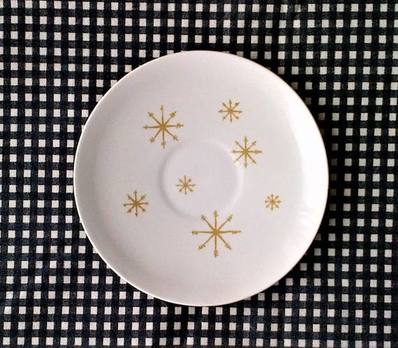 Gold Star Design Royal China Dinner Plates Set of 4 USA White and Gold Star Glow