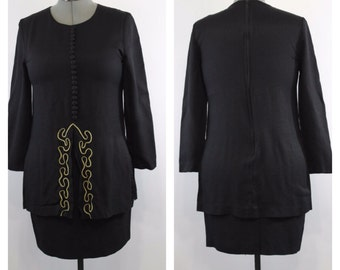 80s Little Black Dress Long Sleeve Dress Mini Dress Short Black Dress Fall Clothing Womens Dresses Medium Size 8 / 10