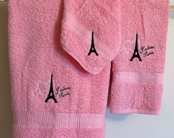 Embroidered ~J'ADORE PARIS~ set of 3 Bath Towels