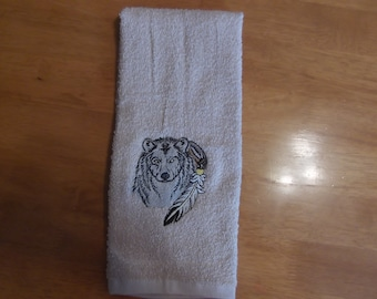Embroidered ~NATIVE American WOLF~ Kitchen Bath Hand Towel